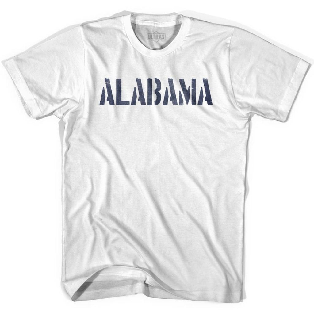Alabama State Stencil Adult Cotton T-shirt - White / Adult Small - Stencil State