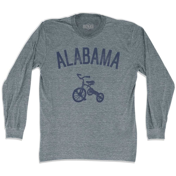 Alabama State Tricycle Adult Tri-Blend Long Sleeve T-shirt - Athletic Grey / Adult Small - Tricycle State