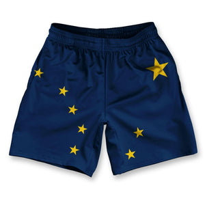 "Alaska State Flag Athletic Running Fitness Exercise Shorts 7"" Inseam by Ultras Sportswear"