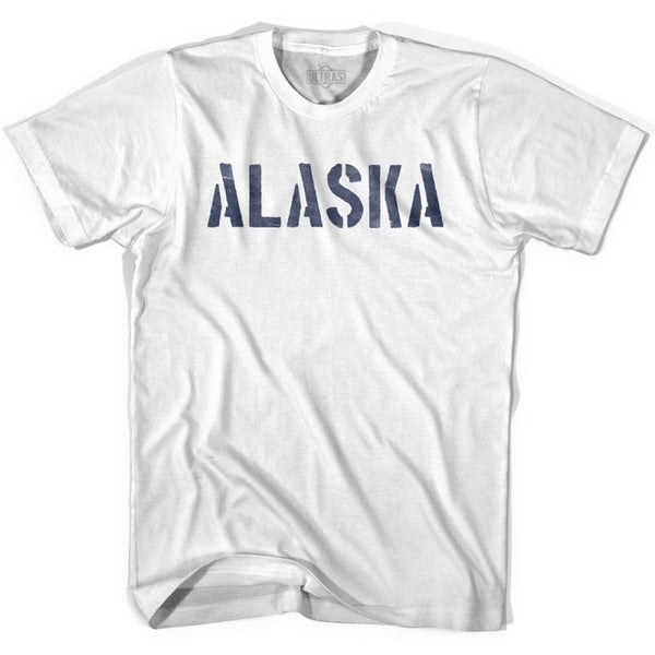 Alaska State Stencil Adult Cotton T-shirt - White / Adult Small - Stencil State