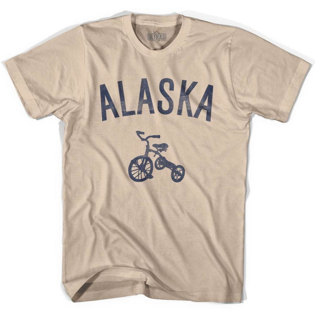 Alaska State Tricycle Adult Cotton T-shirt - Creme / Adult Small - Tricycle State