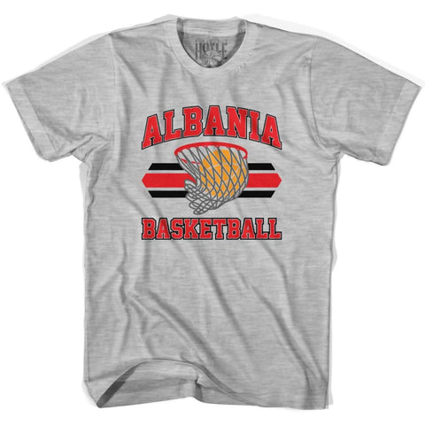 Albania 90s Basketball Net T-shirt - Grey Heather / Youth X-Small - Basketball T-shirt