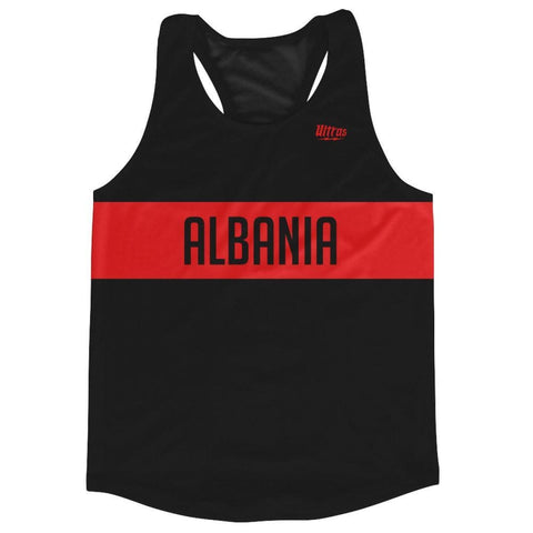 Albania Country Finish Line Running Tank Top Racerback Track and Cross Country Singlet Jersey - Black Red / Adult X-Small - Running Top