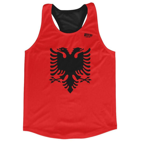 Albania Country Flag Running Tank Top Racerback Track and Cross Country Singlet Jersey - Black Red / Adult X-Small - Running Top