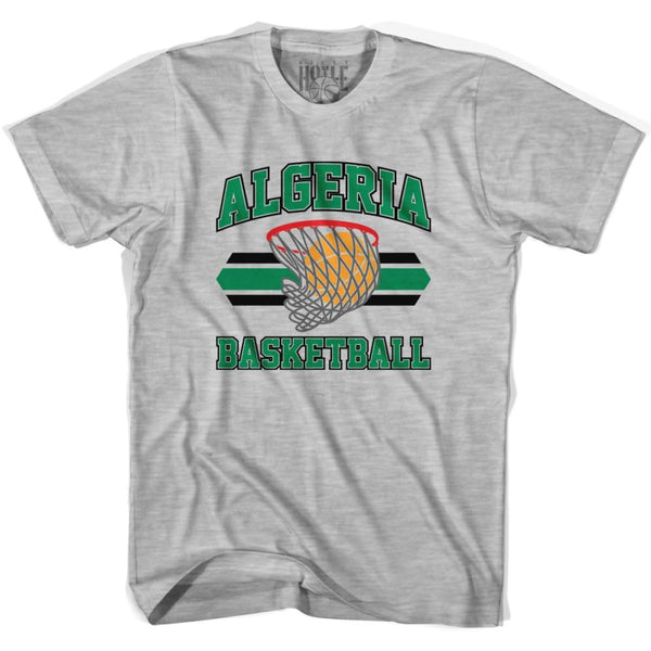 Algeria 90s Basketball Net T-shirt - Grey Heather / Youth X-Small - Basketball T-shirt