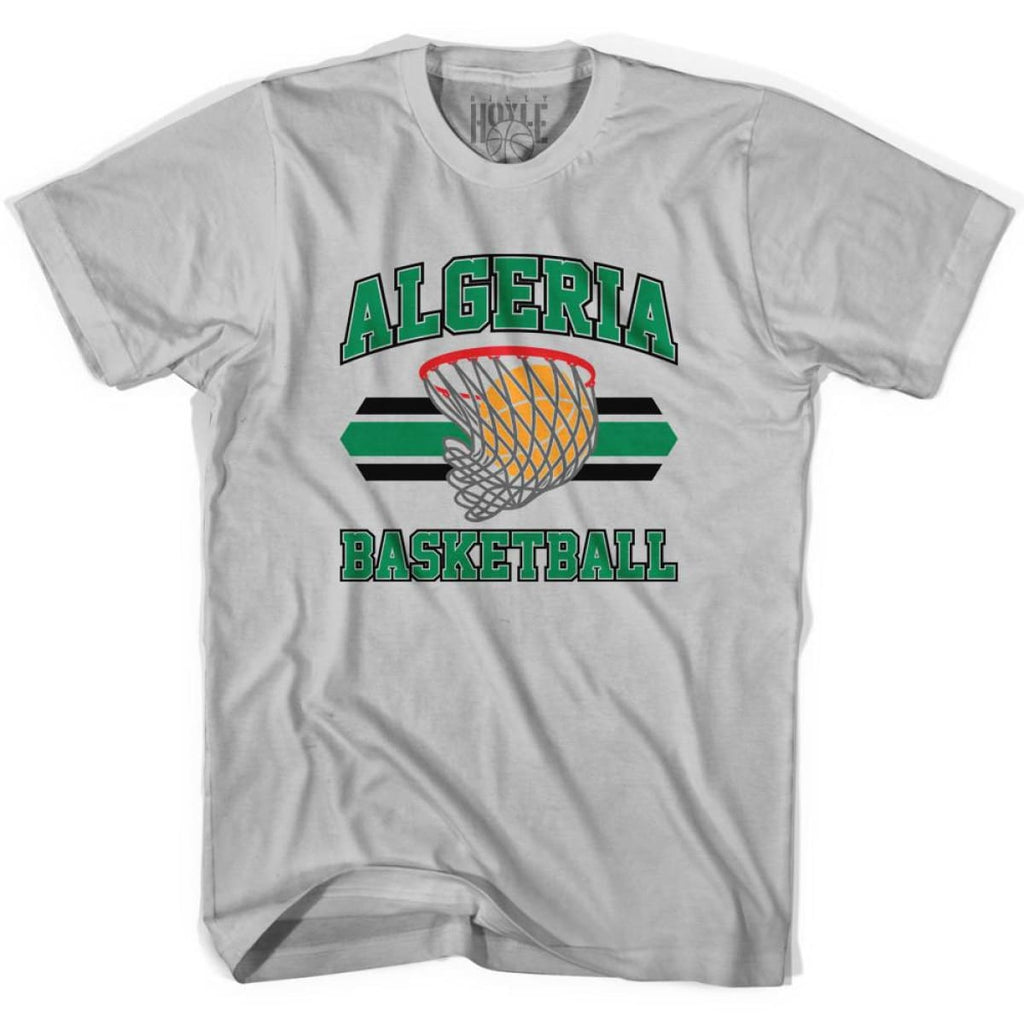 Algeria 90s Basketball Net T-shirt - Silver / Youth X-Small - Basketball T-shirt