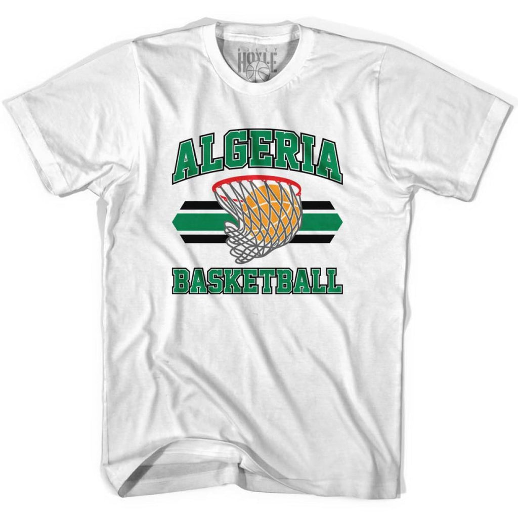 Algeria 90s Basketball Net T-shirt - White / Youth X-Small - Basketball T-shirt