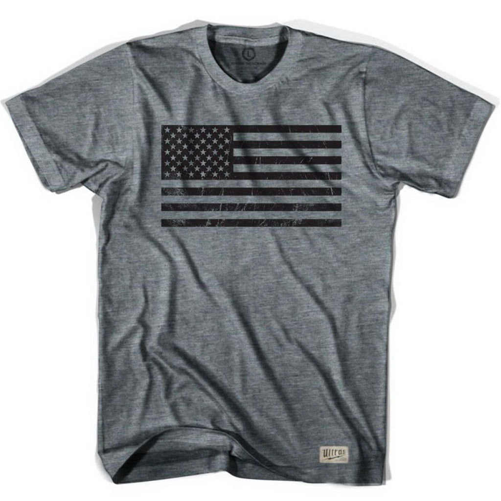 American Black Flag Soccer T-shirt - Athletic Grey / Adult Small - Ultras USA Soccer T-shirts