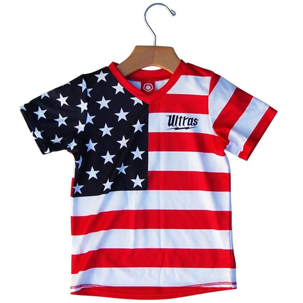 American Flag #76 Kids Soccer Jersey - Red White and Blue / Toddler 1 / No - Ultras Soccer Jerseys