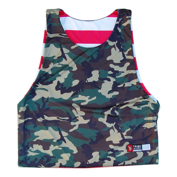 American Flag and Camo Sublimated Sublimated Reversible Lacrosse Pinnie - Graphic Lacrosse Pinnies