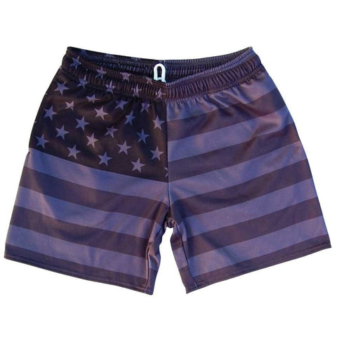 American Flag Black Out Athletic Fleece Sweatshorts - Black / Adult Small - Sweat Shorts