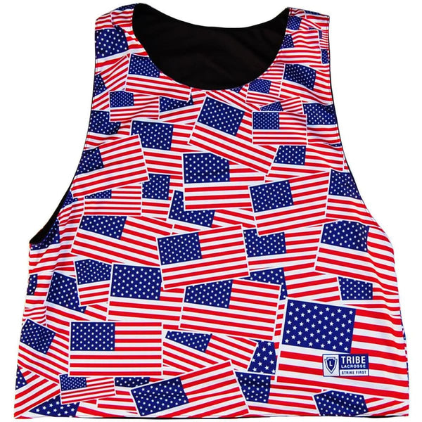 American Flag Party Flags & Tuxedo Lacrosse Pinnie - Graphic Lacrosse Pinnies