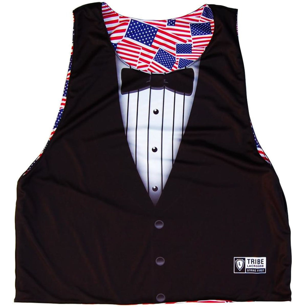 American Flag Party Flags & Tuxedo Lacrosse Pinnie - Red White and Blue / Youth X-Small / No - Graphic Lacrosse Pinnies