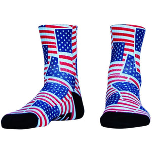 American Flag Party Half Crew Athletic Socks - White / Adult Medium - Socks