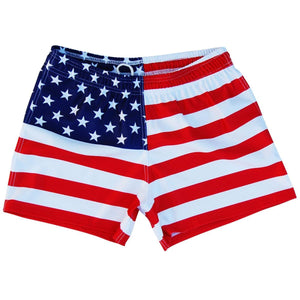 American Flag Rugby Union Shorts - Red / Adult Small - Ruckus Rugby Union Rugby Shorts