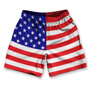 "American Flag Athletic Running Fitness Exercise Shorts 7"" Inseam by Ultras Sportswear"