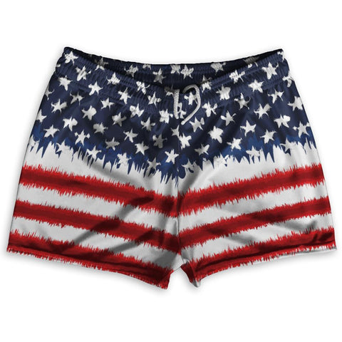 "American Flag Tie Dye Shorty Short Gym Shorts 2.5""Inseam By Ultras Sportswear"