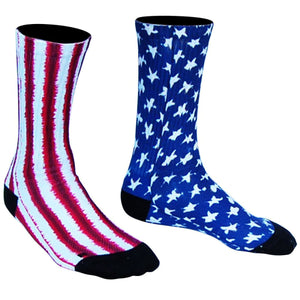 American Flag Tie Dye Athletic Crew Socks - Red White Blue / Medium - Socks