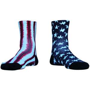 American Flag Tie Dye Half Crew Athletic Socks - Red White Blue / Adult Medium - Socks