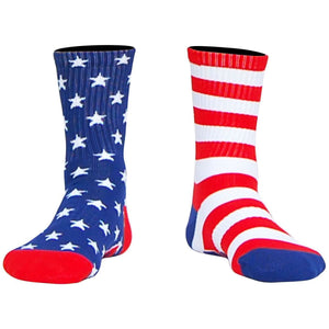 American Flag USA Stars & Stripes Athletic Half Crew Socks - Red White Blue / Adult Medium - Socks