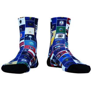 American State Flag Half Crew Athletic Socks - Red White Blue / Adult Medium - Socks