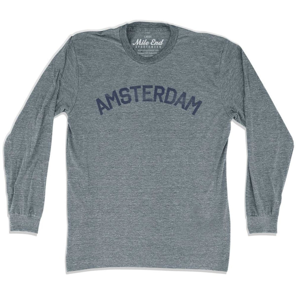 Amsterdam City Long Sleeve Vintage T-shirt - Athletic Grey / Adult X-Small - Mile End City