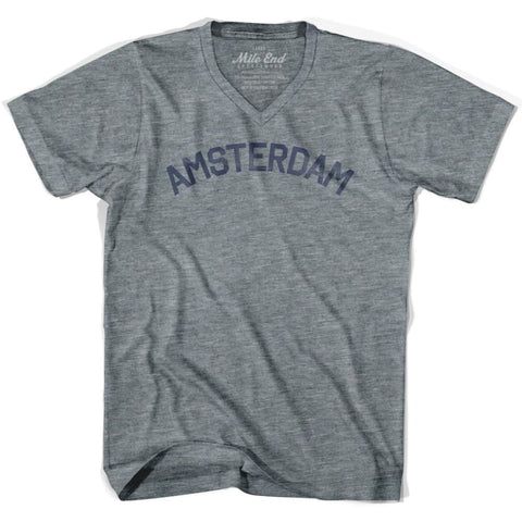 Amsterdam City Vintage V-neck T-shirt - Athletic Grey / Adult X-Small - Mile End City