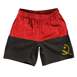 "Angola Country Flag Athletic Running Fitness Exercise Shorts 7"" Inseam Made In USA By Ultras Sportswear"