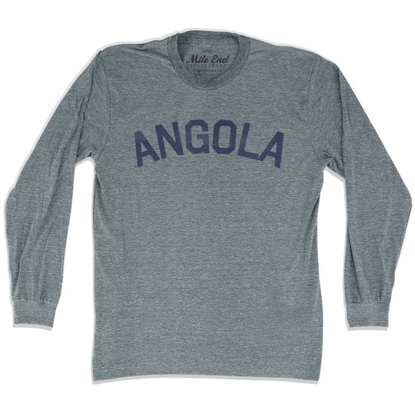 Angola City Vintage Long Sleeve T-shirt - Athletic Grey / Adult X-Small - Mile End City