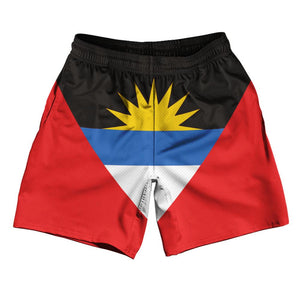 "Antigua & Barbuda Country Flag Athletic Running Fitness Exercise Shorts 7"" Inseam Made In USA By Ultras Sportswear"