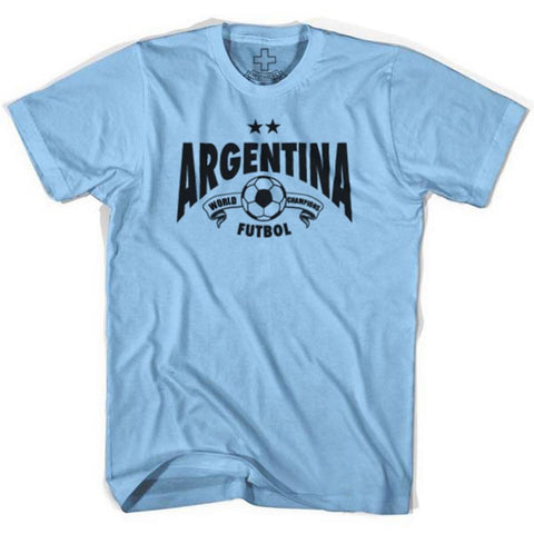 Argentina World Champions T-shirt - Baby Blue / Adult Small - Ultras Soccer T-shirts