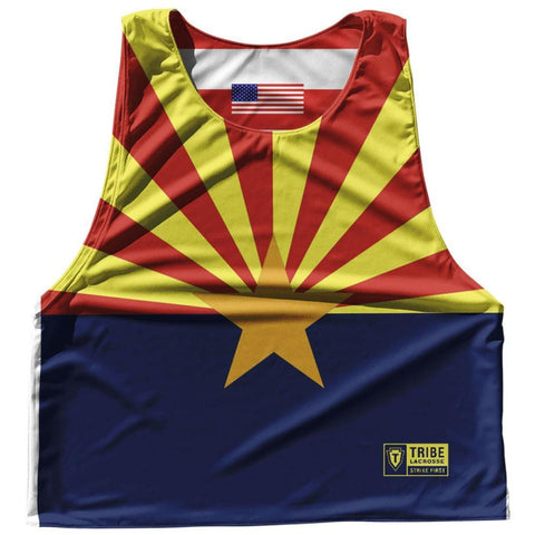 Arizona State Flag and American Flag Reversible Lacrosse Pinnie - Blue & Yellow / Adult Small / No - Lacrosse Pinnies