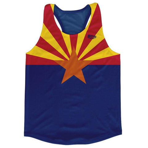 Arizona State Flag Running Tank Top Racerback Track and Cross Country Singlet Jersey - Blue & Yellow / Adult X-Small - Running Top
