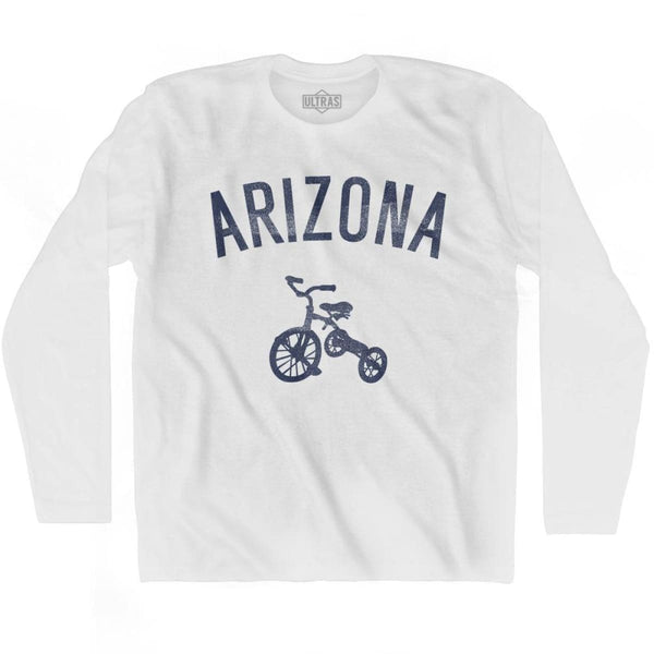 Arizona State Tricycle Adult Cotton Long Sleeve T-shirt - White / Adult Small - Tricycle State