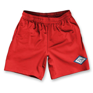 "Arkansas State Flag Athletic Running Fitness Exercise Shorts 7"" Inseam by Ultras Sportswear"