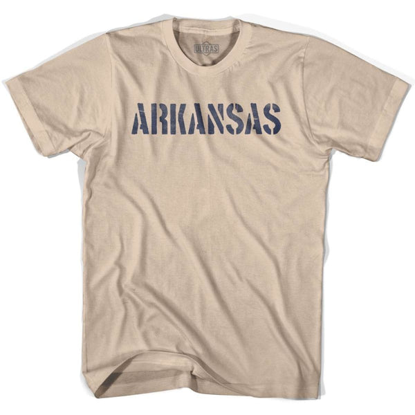 Arkansas State Stencil Adult Cotton T-shirt - Creme / Adult Small - Stencil State
