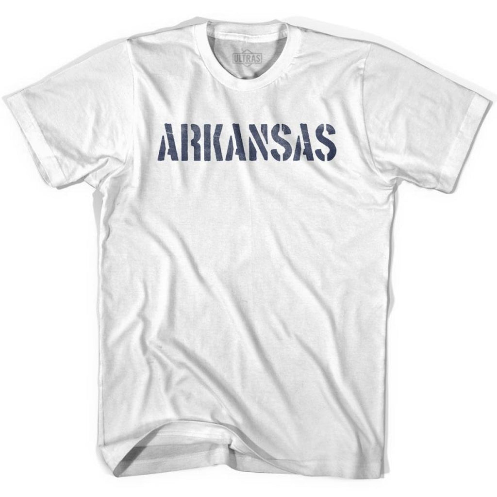 Arkansas State Stencil Adult Cotton T-shirt - White / Adult Small - Stencil State