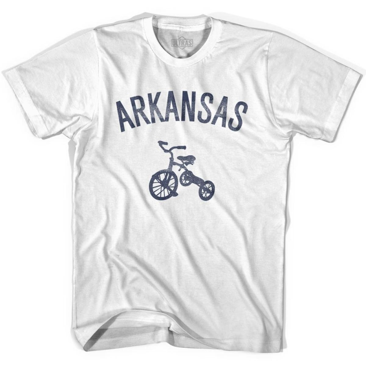 Arkansas State Tricycle Womens Cotton T-shirt - White / Womens Small - Tricycle State