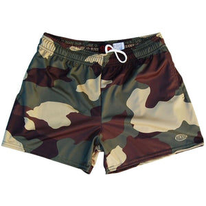 Army Camo Rugby Shorts - Camo / Adult Small - Rugby Cut Training Shorts