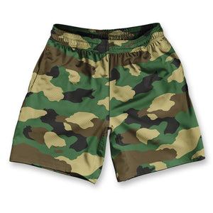 "Army Camo Athletic Running Fitness Exercise Shorts 7"" Inseam by Ultras Sportswear"