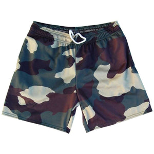 Army Camo Woodland Athletic Fleece Sweatshorts - Camo / Adult Small - Sweat Shorts
