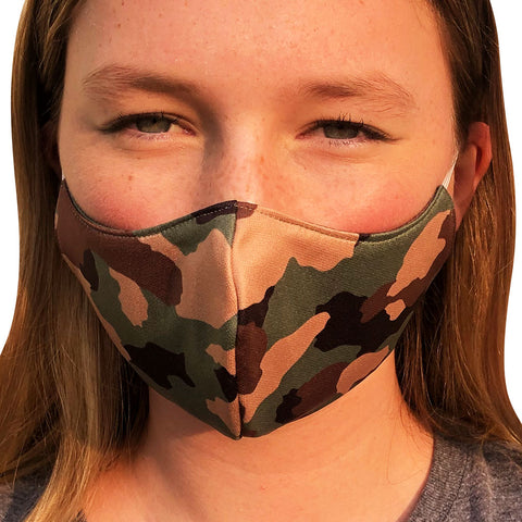 Army Camo Lightweight Reversible Ear Loop Youth Face Mask Made In USA