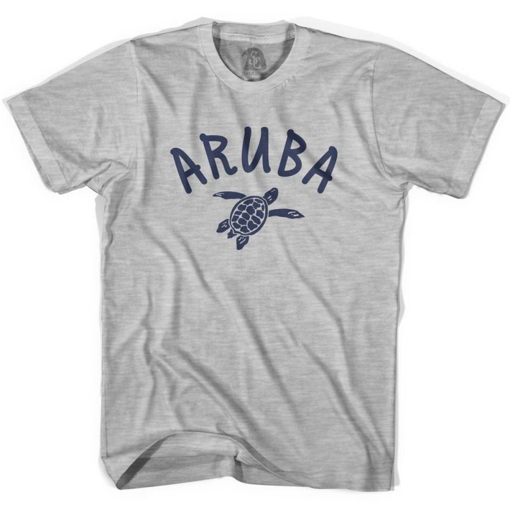 Aruba Beach Sea Turtle Youth Cotton T-shirt - Grey Heather / Youth X-Small - Turtle T-shirts