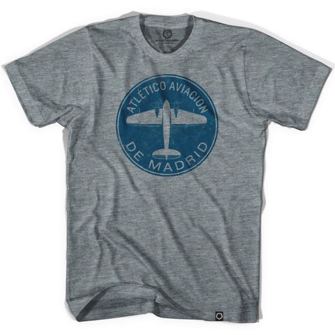Atletico Madrid Plane Soccer T-shirt - Athletic Grey / Adult X-Small - Ultras Club Soccer T-shirt
