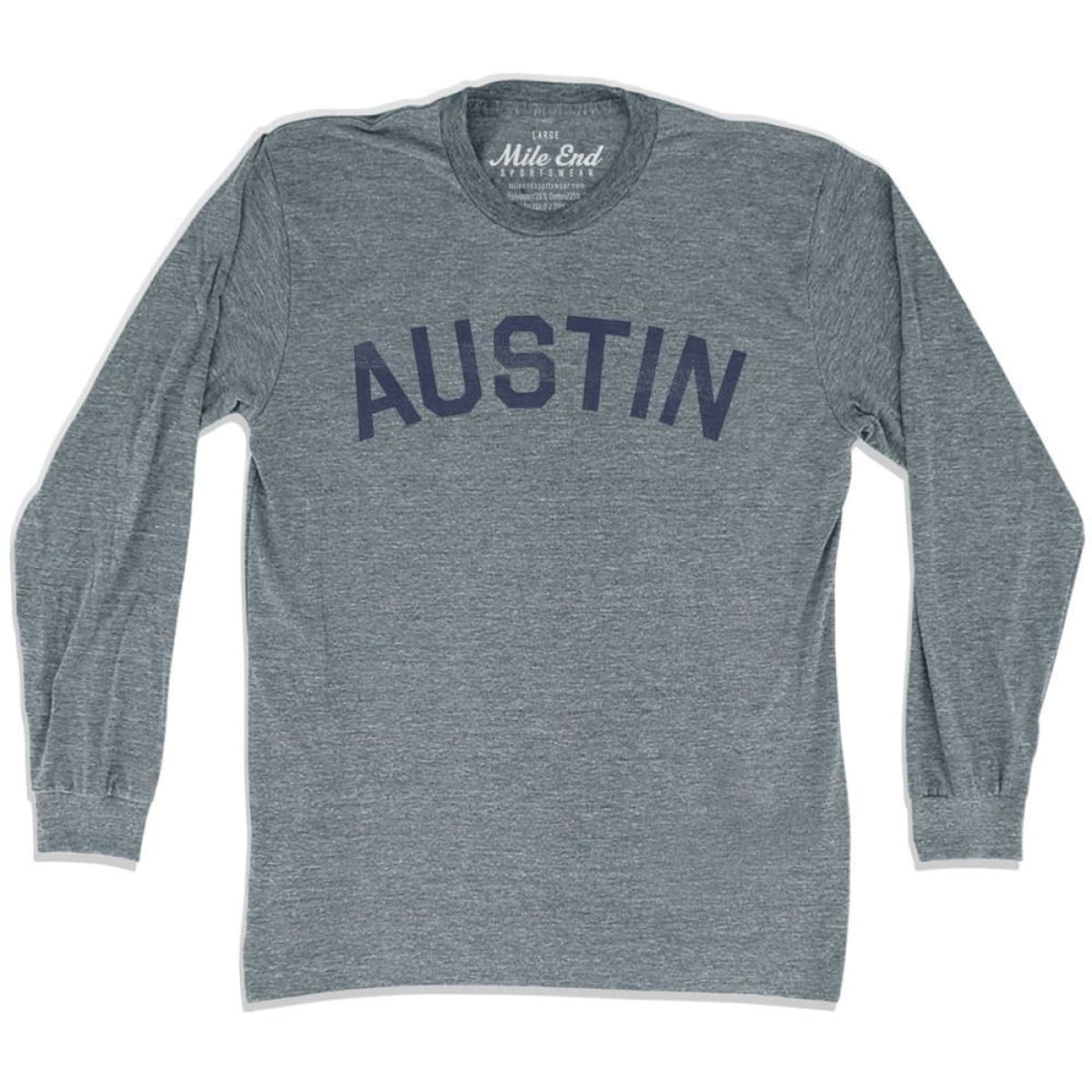 Austin City Vintage Long Sleeve T-Shirt - Athletic Grey / Adult X-Small - Mile End City