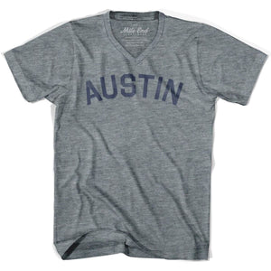 Austin City Vintage V-neck T-shirt - Athletic Grey / Adult X-Small - Mile End City