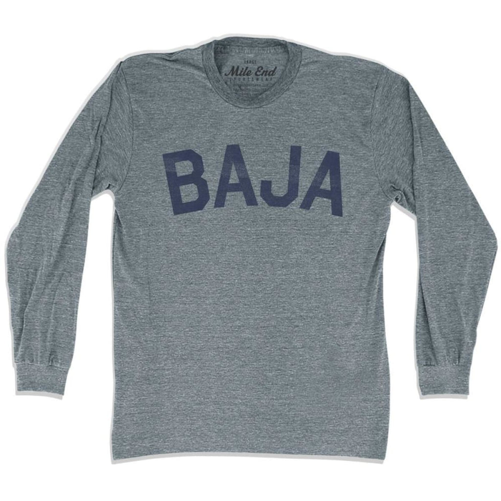 Baja City Vintage Long Sleeve T-shirt - Athletic Grey / Adult X-Small - Mile End City