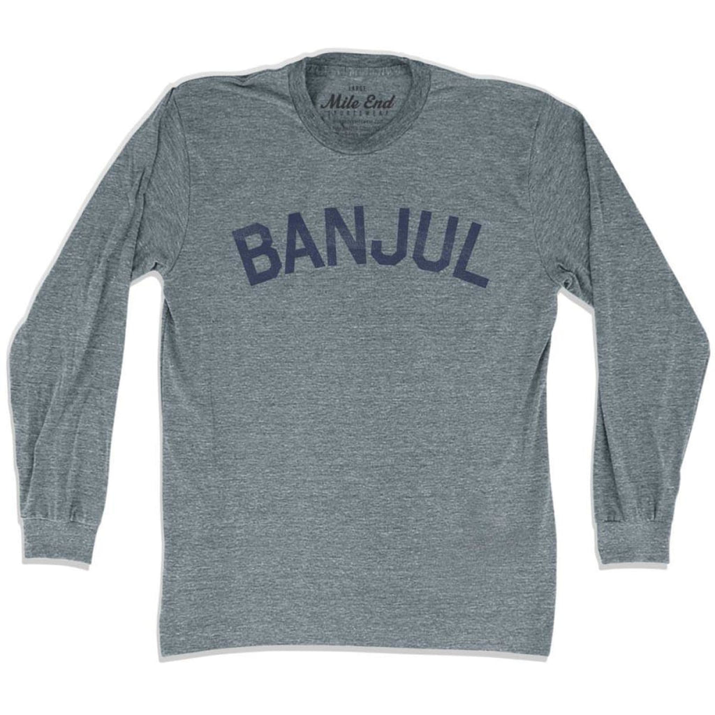 Banjul City Vintage Long Sleeve T-shirt - Athletic Grey / Adult X-Small - Mile End City