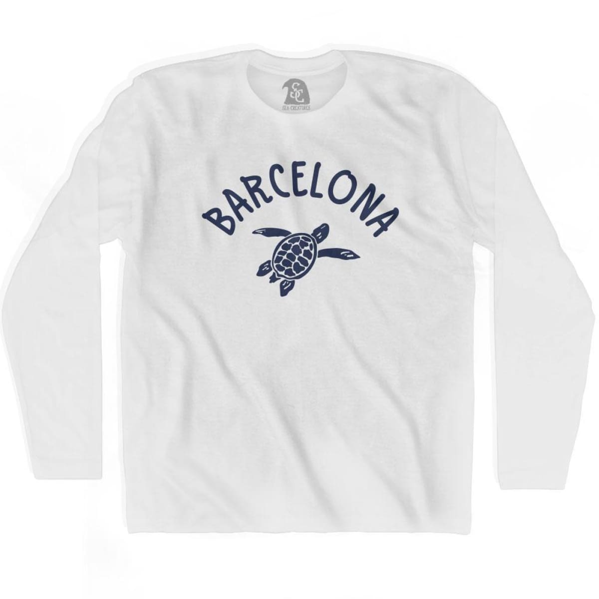 Barcelona Beach Sea Turtle Adult Cotton Long Sleeve T-shirt - White / Adult Small - Turtle T-shirts