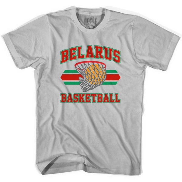 Belarus Basketball 90s Basketball T-shirt - Silver / Youth X-Small - Basketball T-shirt